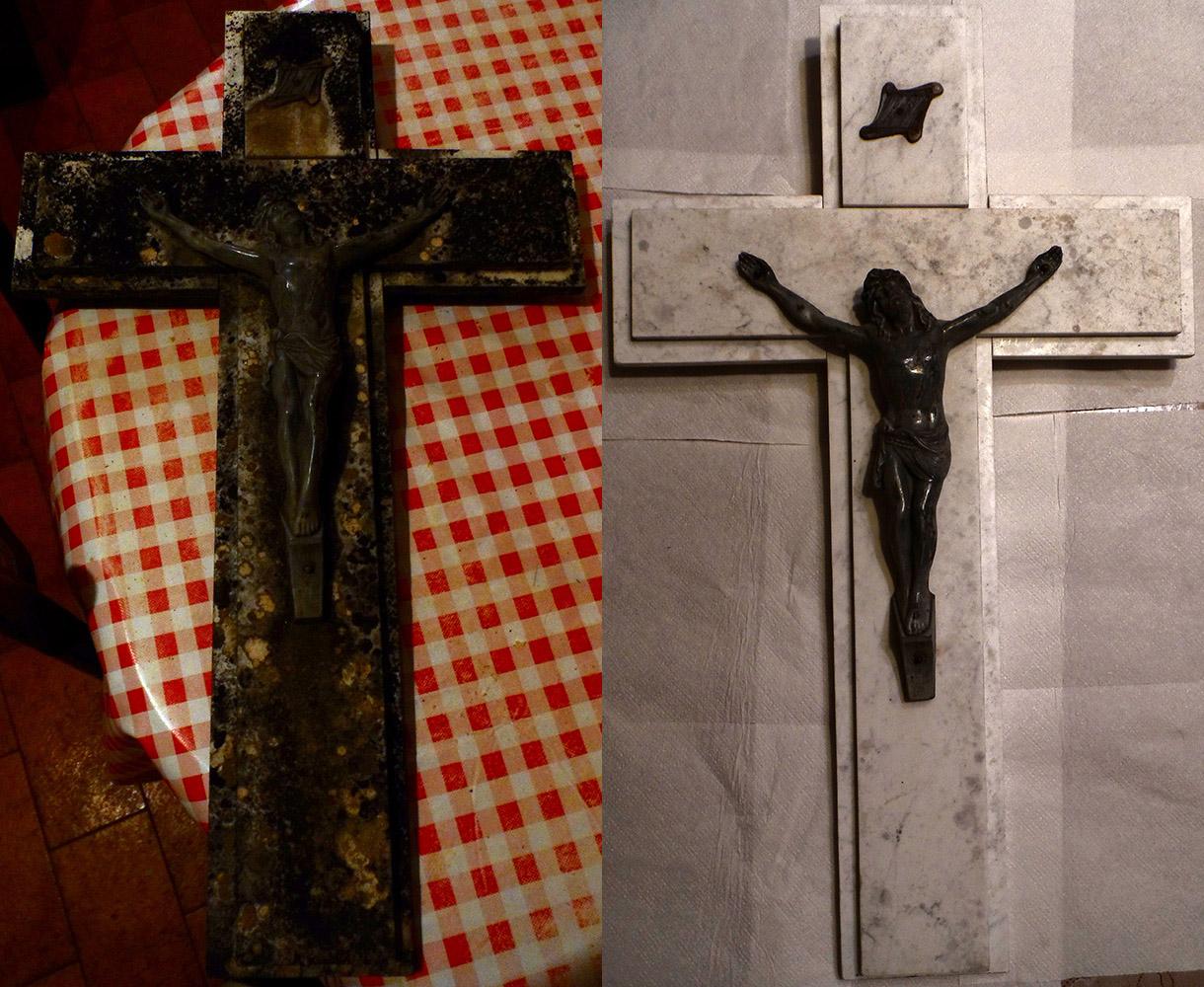 Entretien funéraire : croix en marbre blanc nettoyée