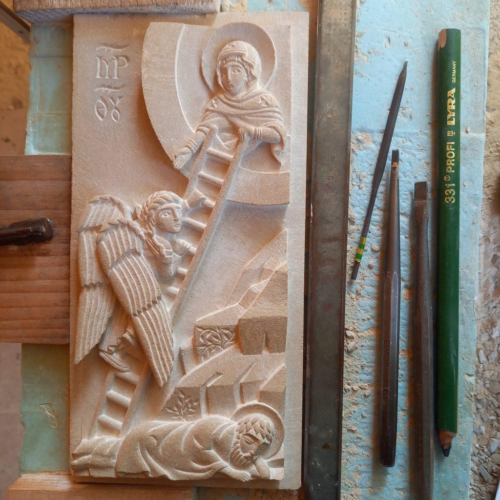 Bas-relief en pierre serpentine représentant l'échelle de Jacob