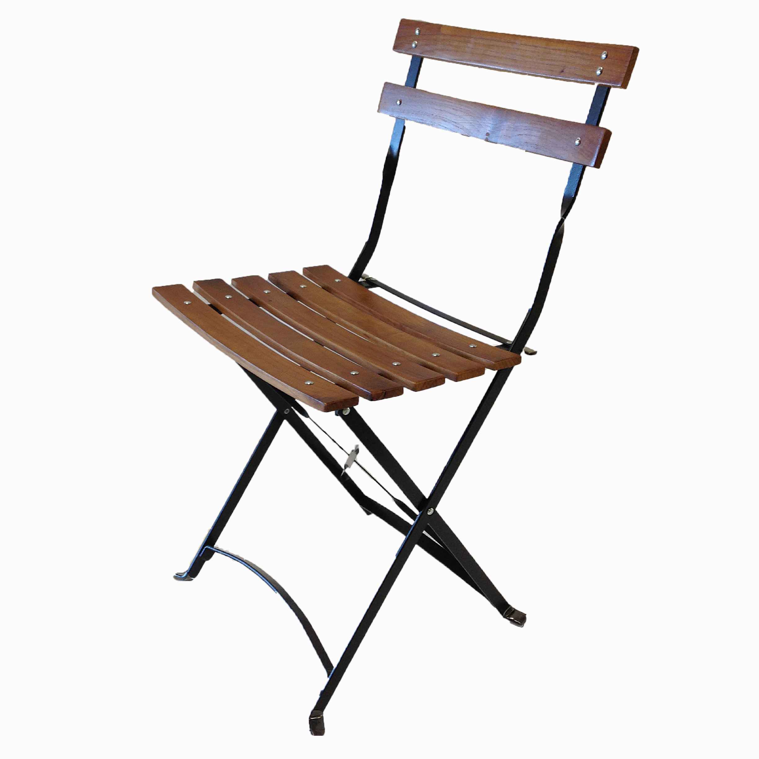 Metal Chair With Wood Seat French Bistro Metal Wood Folding Chair