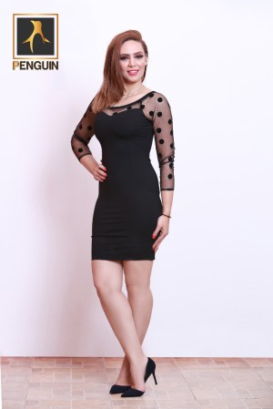 Code_[Mena881]_Black_short_sleeve_dress_with_tel_chest