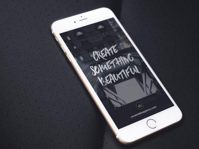 White iPhone on black Leather Mockup Set