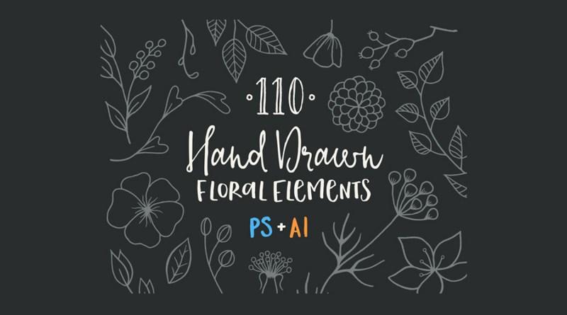 110 elementos florales a mano gratis