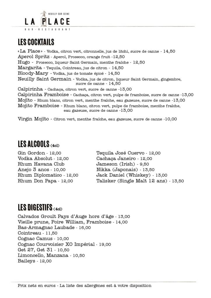 Menu, cocktails, alcools, digestifs, La Place, Neuilly