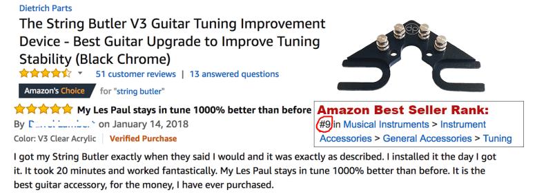 String Butler Amazon Choice Rank 9 Jan 30 2018