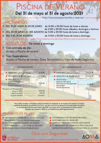 Cartel precios GENERAL  piscina de verano 2021