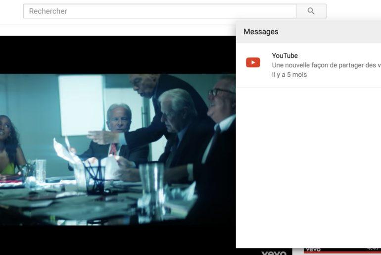 youtube messagerie desktop
