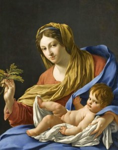 Simon Vouet (1590-1649), Vierge au rameau de chêne, dite Vierge Hesselin, vers 1640, musée du Louvre, 97x77cm©musée du Louvre