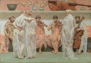 Albert Joseph Moore, Le Quatuor, hommage du peintre à l'art de la musique, 1868, huile sur toile ©collection Pérez Simon