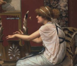 John William Godward, Erato jouant de la lyre, 1895, huile sur toile