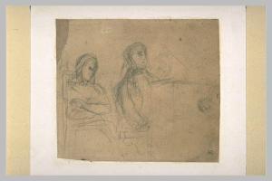 Eugène Delacroix, Homme assis devant un piano, une femme à ses côtés (Frédéric Chopin et George Sand?) musée du Louvre, esquisse
