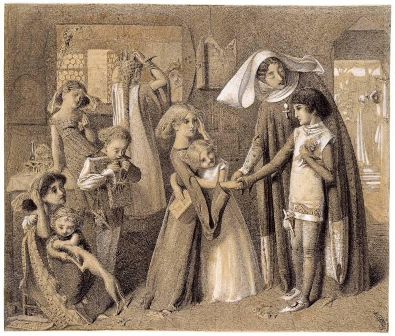 Simeon Solomon (1840‑1905) La première rencontre de Dante et de Béatrice, 1859-63, Tate Gallery, encre, aquarelle et gouache