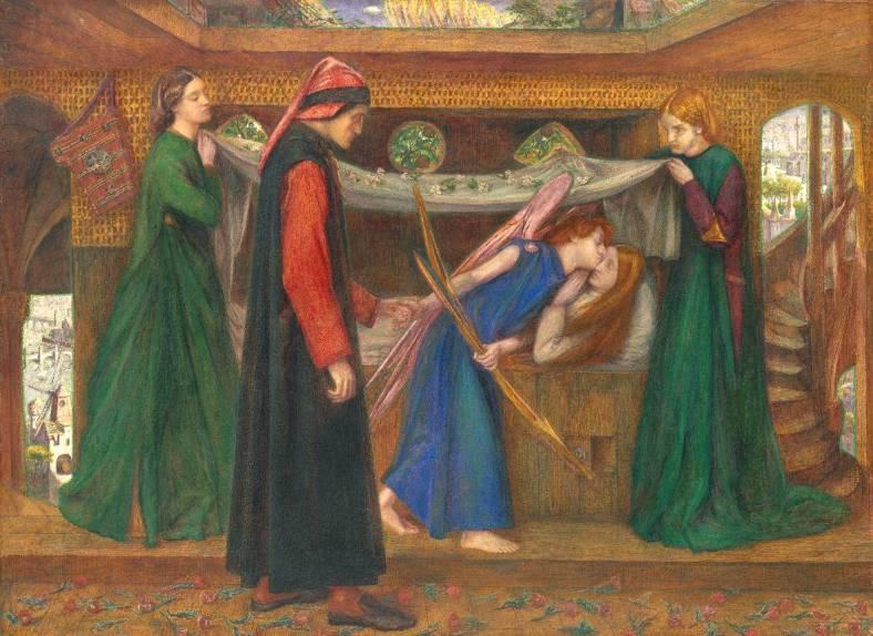 Dante Gabriel Rossetti (1828‑1882) Dante rêvant de la mort de Béatrice, 1856, Tate Gallery, aquarelle