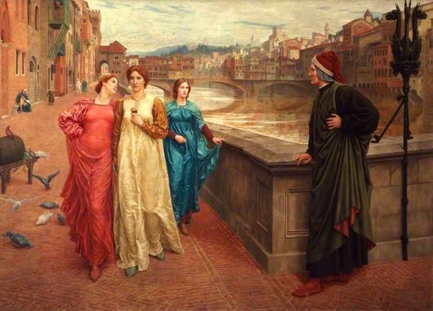 Henry Holiday (1839-1927), La rencontre de Dante et Béatrice, 1883, National Museums Liverpool, huile sur toile