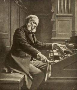 César Franck à l'orgue, photographie d'après un tableau de Jeanne Rongier