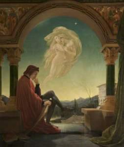 Joseph Noel Paton, Dante Meditating the Episode of Francesca da Rimini and Paolo Malatesta, Bury Art Museum, huile sur toile