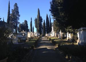 L'allée principale du cimetière des Anglais de Florence