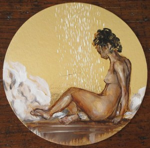 Danaé par Jérôme Delaplanche, huile sur carton doré, collection GLSG
