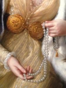La comtesse Stanislas Marie Adélaïde de Clermont-Tonnerre, née Louise Joséphine Marie Delphine de Rosières de Sorans, plus tard marquise de Talaru, en sultane (détail) 1785, huile sur panneau de bois, 98x72cm, collection particulière