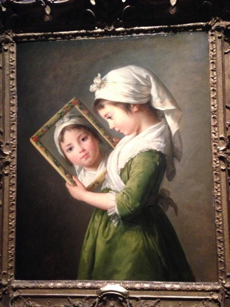 E. Vigée Lebrun, Jeanne Julie Louise Le Brun se regardant dans un miroir, 1787, huile sur panneau, 73x60.3 cm, collection particulière