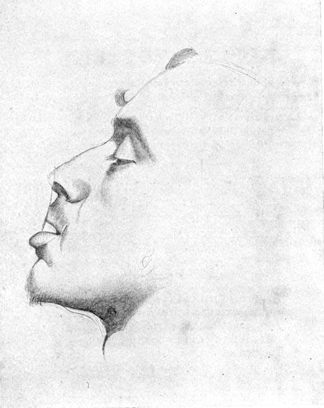 John Everett Millais, étude pour Lorenzo and Isabella, portrait de Dante Gabriel Rossetti, 1848, crayon, © Source: Millais, I, 70. Scanned image and text by George P. Landow via Victorian Web