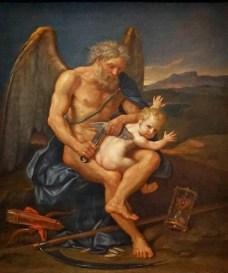 Pierre Mignard (1612-1695) Le Temps coupant les ailes de l'Amour, 1694, huile sur toile, collection particulière (présenté à l'exposition Carambolages au Grand Palais, 2 mars-4 juillet 2016)