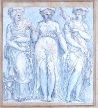 6. Guillaume Boichot (1735-1814) Les Trois Parques, 1814, dessin, plume, pierre noire, encre pastel ©musée Rollin, Autun