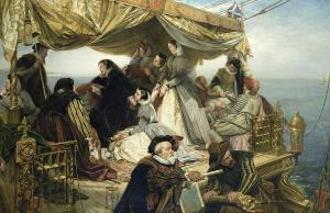 Henry Nelson O'Neil (1817-1880) Les adieux de Marie Stuart à la France, 1862, huile sur toile, collection particulière