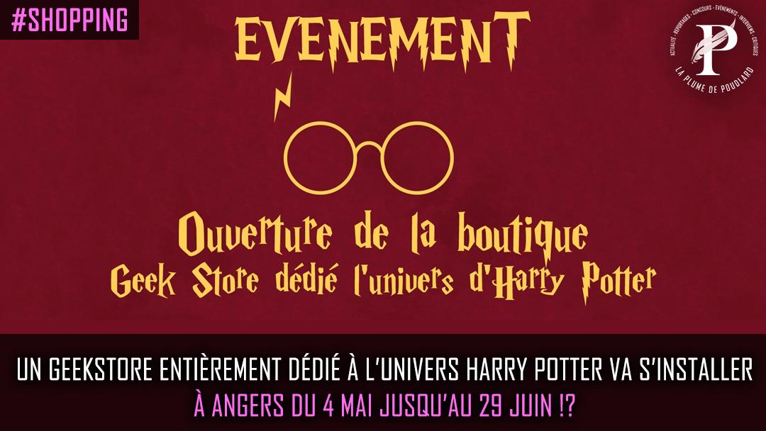 Un Geekstore dédié à l'univers Harry Potter va s'installer à Angers du 4 Mai jusqu'au 29 Juin.