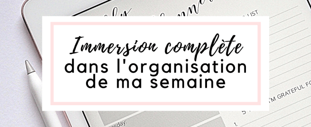 Immersion organisation de ma semaine