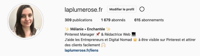 Profil instagram La plume rose
