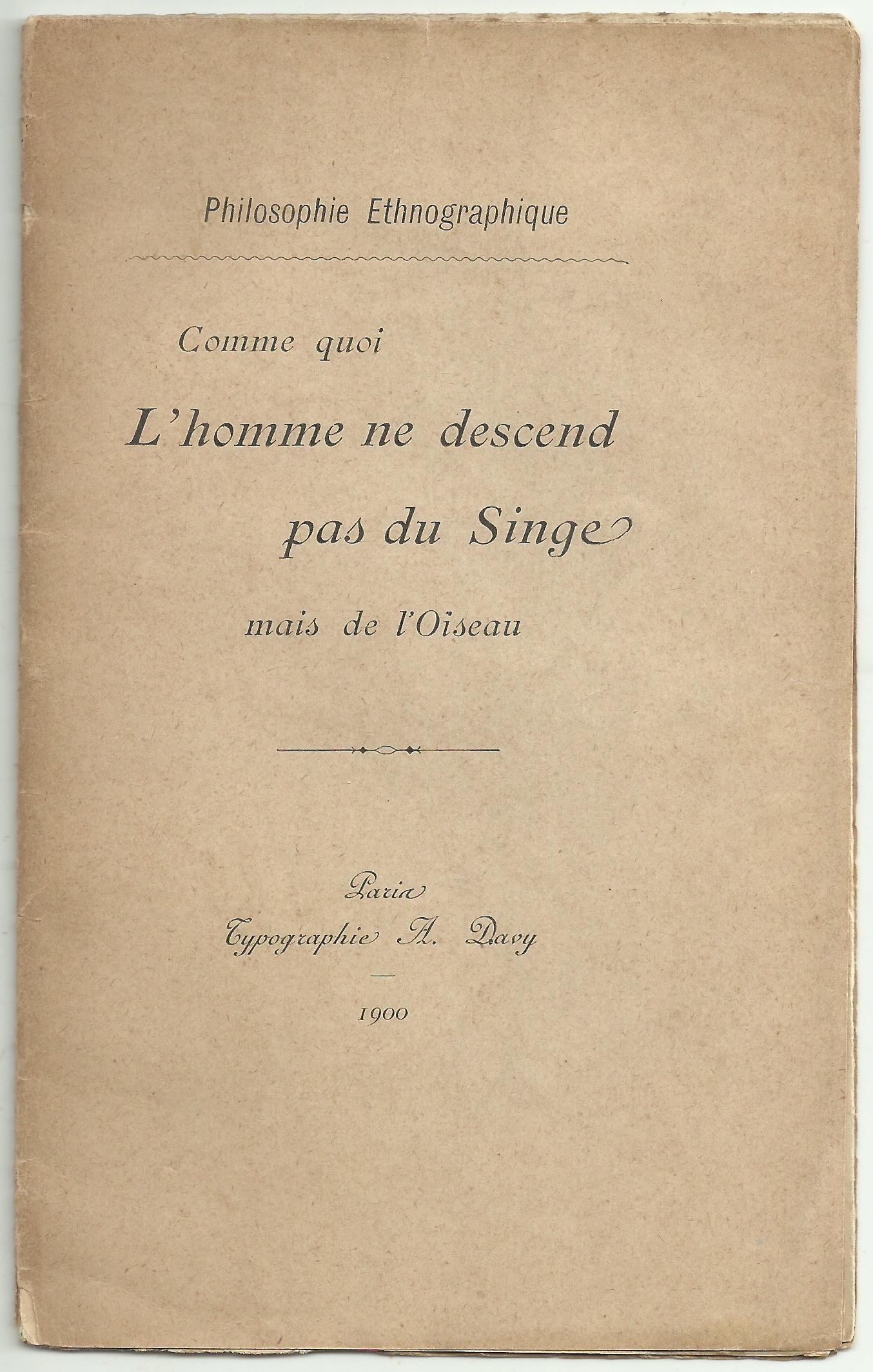 L'homme Ne Descend Pas Du Singe : l'homme, descend, singe, COMME, L'HOMME, DESCEND, SINGE, L'OISEAU, Porte, Ouverte