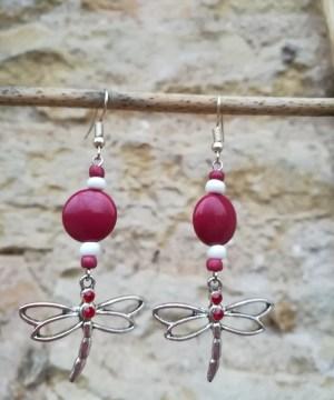 Boucles d'oreilles «Libellule» rouge cerise