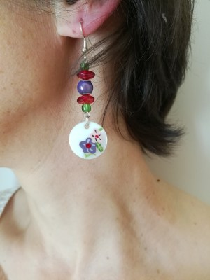 Boucles d'oreilles Nacre fleurie