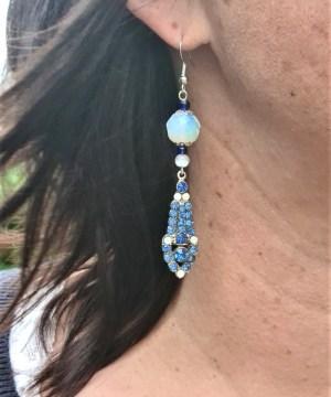 Boucles d'oreilles vintage «Bleu antique»