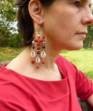 Boucles d'oreilles «A-mer indienne» rouge