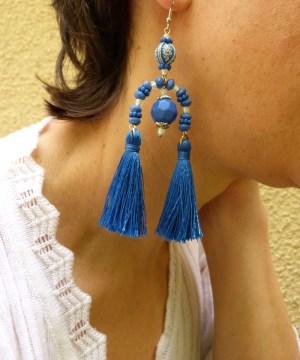 Boucles d'oreilles bleues «Equilibre»