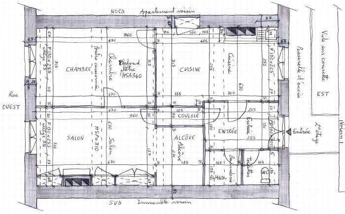 Plan d'état des lieux de mon appartement avant déconstruction