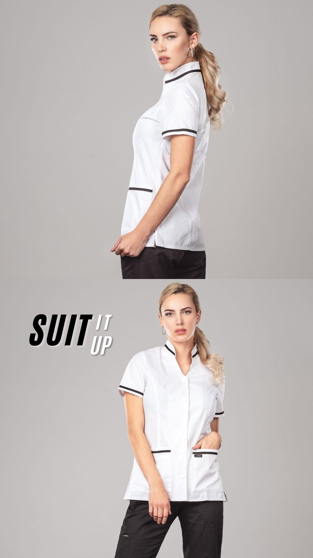 Pyjama medical _Col Officier _ Blanc/Black Profil Gauche/Face 3