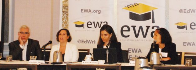 De izq. Moderator: Claudio Sanchez, Education Correspondent, NPR; Gigliana Melzi, Associate Professor of Applied Psychology, New York University; Emma García, Economist, Economic Policy Institute;  Katherine Valle, Policy Adviser, U.S. House of Representatives Committee on Education and the Workforce ; como parte del grupo de panelistas, educadores y expertos de la Equidad en la educación quienes se reunieron esta semana en la Tercera Conferencia Anual para Miembros de la Prensa y los Medios de Comunicación en Español. (Foto:LPDC/Mary A. Flores).