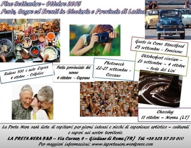 calendario fine settembre ottobre ciociaria e provincia di latina
