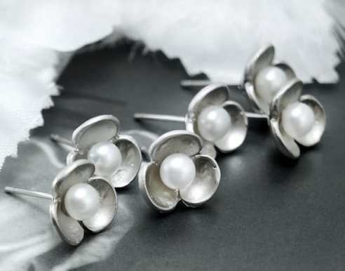 Pearl Flower Sterling Silver Earrings