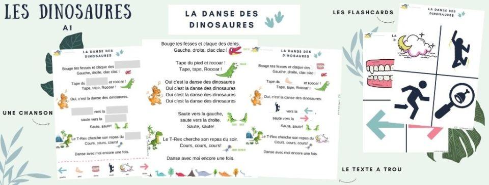 Les dinosaures FLE CHanson Texte à trou et Flashcards