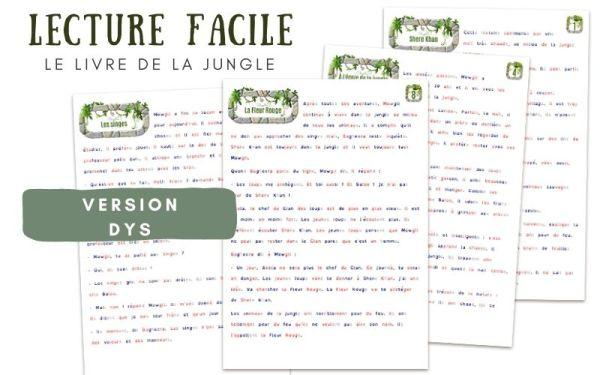 Lecture dyslexique livre de la jungle CE1 CE2