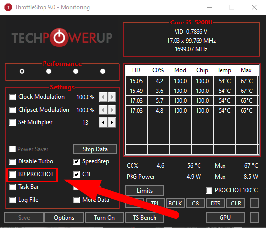 Throttlestop disabling bd prochot