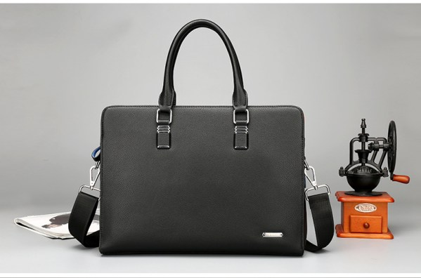 Leather laptop bag front view