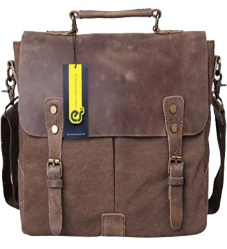 Ecosusi Men Vintage Genuine Leather Laptop Shoulder Bag Review