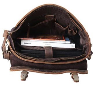 Internal Design of Kattee Leather Laptop Shoulder Bag For Men