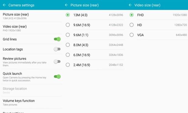 CameraSettings-Samsung Galaxy J5