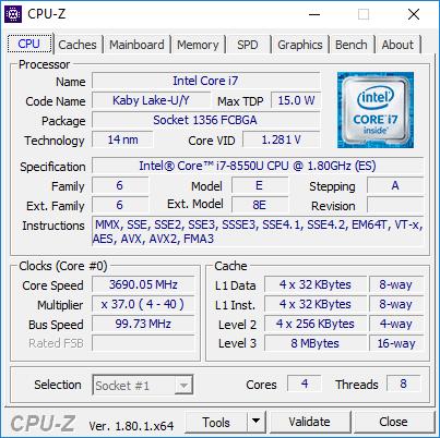 Intel Core i7-8550U (8th Gen, Kaby Lake Refresh) – specs