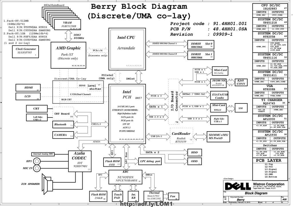 Dell Inspiron N5010 (Intel) schematic